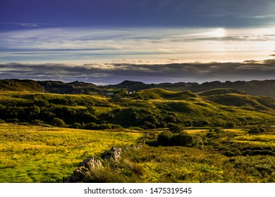 Rural Landscape With Sunny Hills And A Remote Village Near Gairloch In Scotland