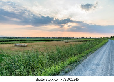 rural landscape at sunset with dramatic sky in Reggio Emilia, Italy