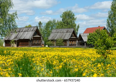 Rural landscape with wooden houses in Suzdal, Russia