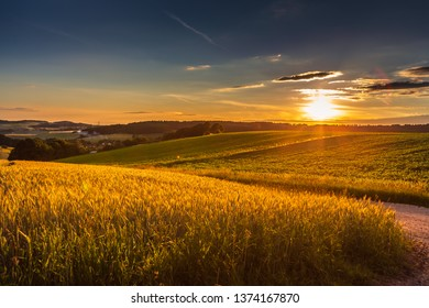 a rural lansdscape near Coburg in Germany by setting sun