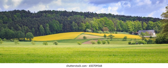 the rural lansdscape in spring near Coburg in Germany