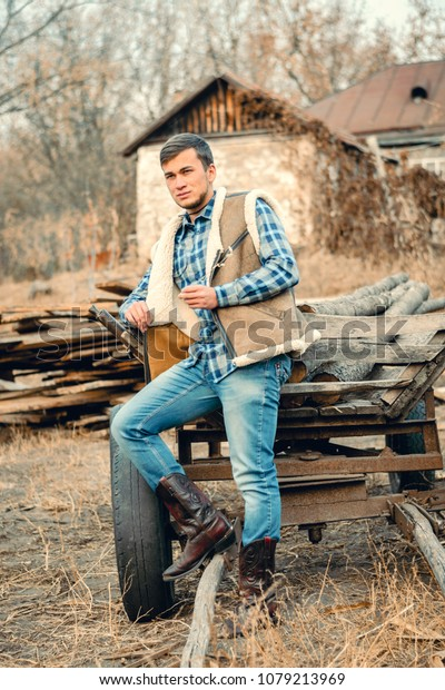 b6ddca0da59 Rural Man Wearing Cowboy Boots Skirt Stock Photo (Edit Now) 1079213969
