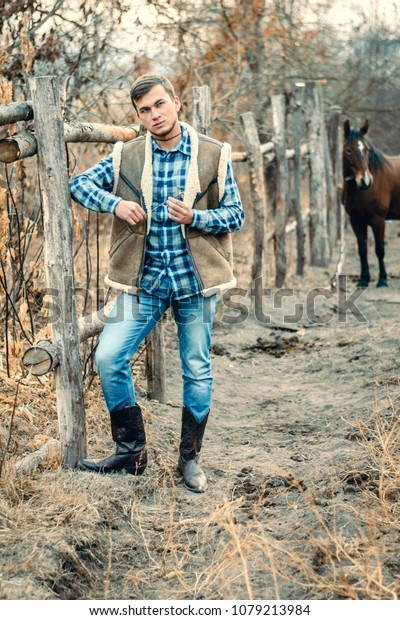9efcbb7b619 Rural Man Wearing Cowboy Boots Skirt Stock Photo (Edit Now) 1079213984