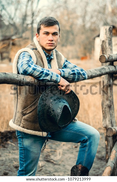 e77ae9c4e32 Rural Man Wearing Cowboy Boots Skirt Stock Photo (Edit Now) 1079213999