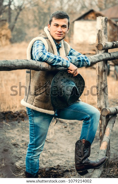 e5c9f34ce6e Rural Man Wearing Cowboy Boots Skirt Stock Photo (Edit Now) 1079214002