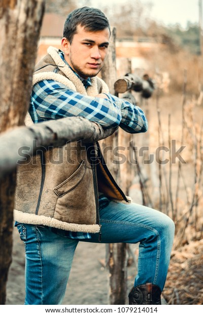 7faf0dcbdb3 Rural Man Wearing Cowboy Boots Skirt Stock Photo (Edit Now) 1079214014