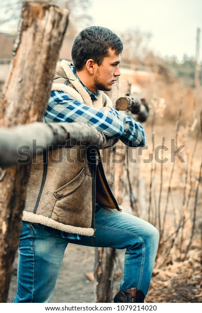 65f6e77ac4a Rural Man Wearing Cowboy Boots Skirt Stock Photo (Edit Now) 1079214020