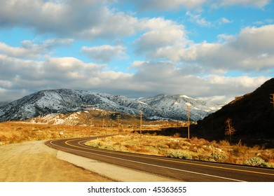 Rural mountain highway in winter after a storm; San Bernardino, California