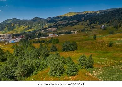 Rural mountain landscapes of Georgian Adjara region near village of Khulo