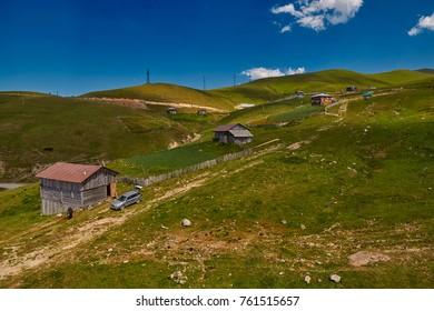 Rural mountain landscapes of Georgian Adjara region near Goderdzi ski resort and village of Khulo