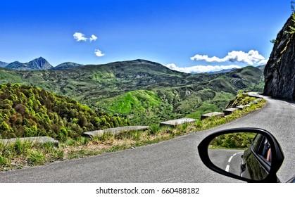 Rural mountainous landscape in Pyrenees-Atlantiques (Aquitaine, France).
