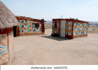 Rural Painted Mud hut South Africa