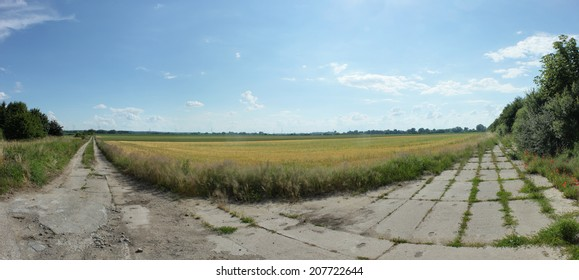 Rural panorama near Greifswald, Mecklenburg-Vorpommern, Germany. There are two old ways to choose between.
