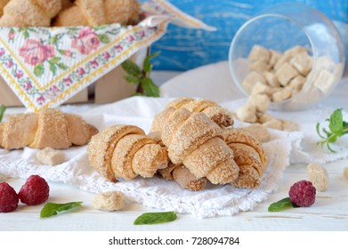 Rural pastry, grandmother's bagels from cottage cheese pastry in sugar, memory from childhood, fragrant pastries