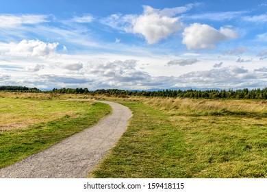 rural path through the Culloden Battlefield in the Highlands, Scotland