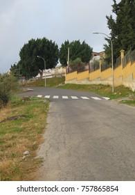Rural Pedestrian crossing leading to rough verge