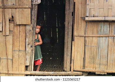 Rural Poor Child Lives in the Philippines, Child Lives in A Remote Area Somewhere in the Philippines.  Taken From Arakan South Cotabato, Philippines, Last April 2018.