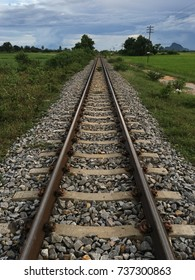 Rural railway in southern line Thailand.