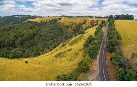 Rural road in Australian countryside.