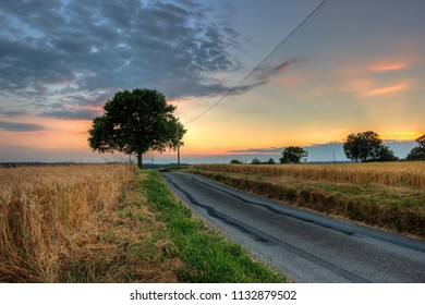 Rural road during susnset