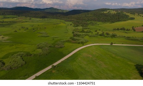 rural road and fields from air