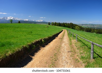 Rural road in green field with Tatra Mountains in the background, Poland