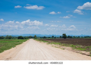 Rural road stretches into the distance, through the fields and woods