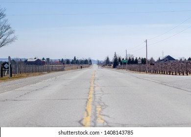 Rural road under a blue sky on a sunny day in spring in Collingwood, Ontario.