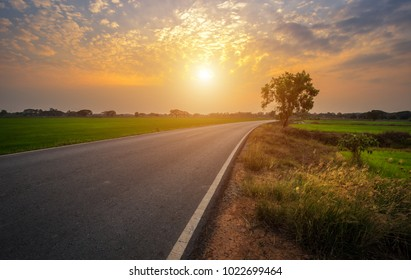 Rural roads Beside with nature and tree big green in Beautiful fluffy clouds with evening sunset background.