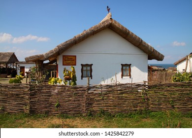 Rural Russian landscape with a view of the Cossack house and courtyard, Krasnodar region, Russia, July 15, 2012. Exhibition Complex Ataman. Kuban Cossack culture and history.