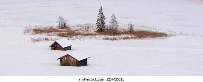 rural scene in Bavaria wooden farm huts