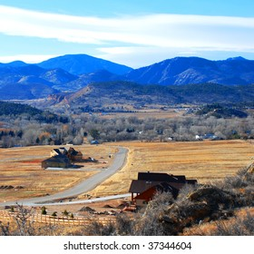 Rural scene near Loveland, Colorado, in the Rocky Mountain foothills