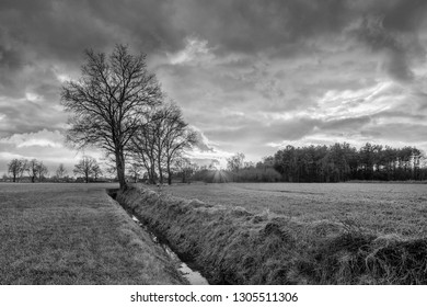 Rural scenery, field with trees near a ditch and sunset with dramatic clouds, Weelde, Flanders, Belgium.