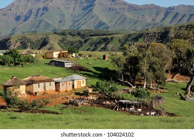 Rural settlement with livestock, South Africa