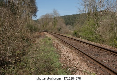 Rural Single Track Railway Line Between the City of Exeter and the Town of Barnstaple in the Devon Countryside, England, UK