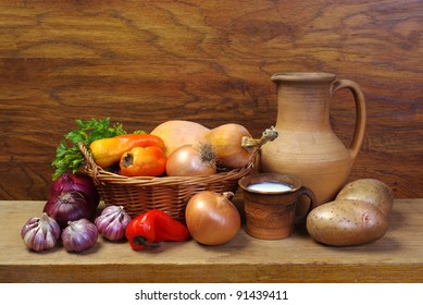 Rural stillife with vegetables and milk
