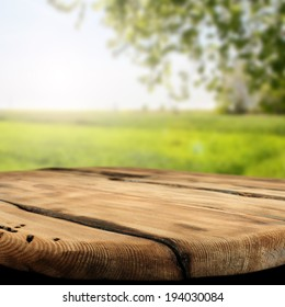 rural table of wood and free space with summer landscape