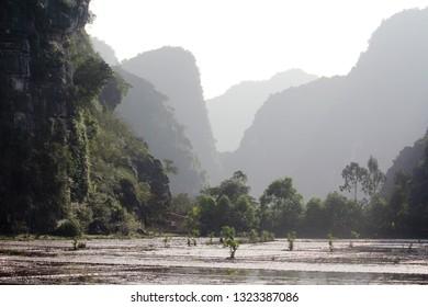 Rural terrain in Ninh Binh city, Vietnam
