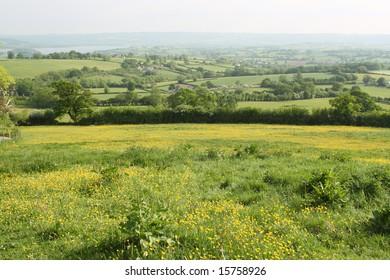 Rural valley views in Somerset, Engalnd.