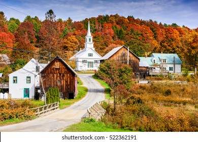 Rural Vermont, USA at Waits River Village with autumn foliage.