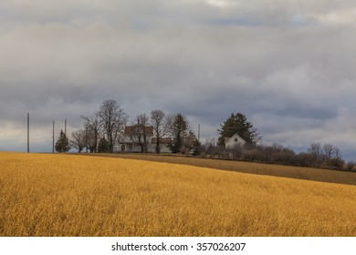 Rural victorian farm house and carriage barn in early winter with a carriage house