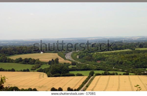 rural view over farmland