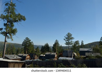 Rural View of Russian Dachas or Holiday Homes in Siberia