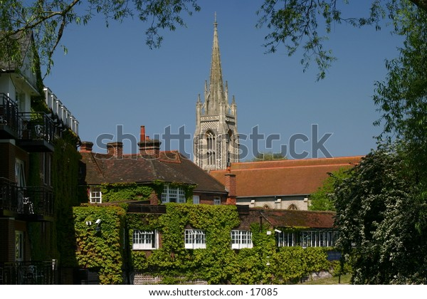 Rural village of Marlow including church spire