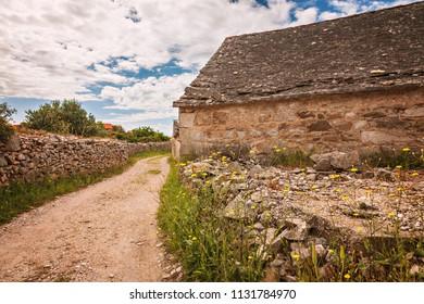 Rural village stone house on the island of Brac, Croatia.