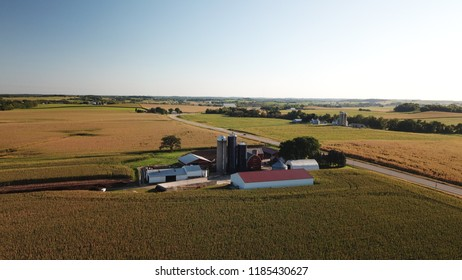 Rural Waunakee Wisconsin Farm With Ready To Pick Corn Fields