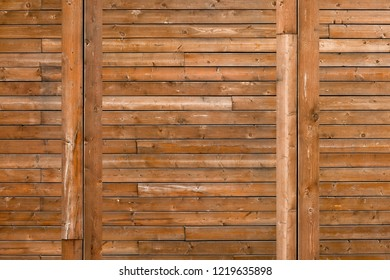 Rural wooden wall texture background. Facade of a log house, copy space. Wooden texture background Wall of blockhouse