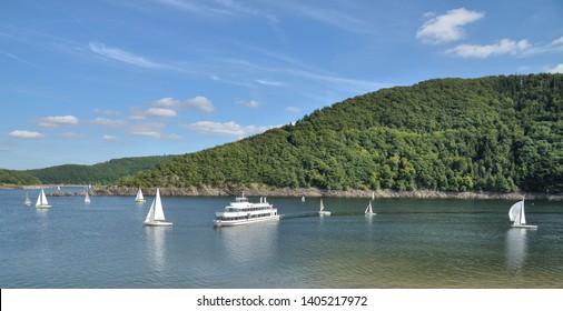 Rursee Reservoir in Eifel National Park,North Rhine westphalia,Germany