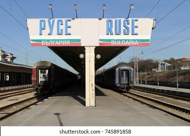 RUSE, BULGARIA - FEBRUARY 5, 2013: Trains at Ruse station in Bulgaria