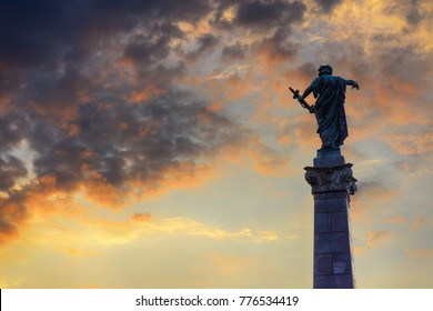 Ruse, Bulgaria - July 17, 2017: The Monument of Liberty - female figure standing on pedestal and holding a sword in her left hand - one of the symbols of Ruse